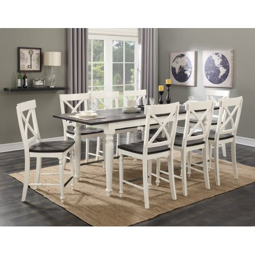 Emerald Home 9 Piece Mountain Retreat Antique White and Dark Mocha Gathering Height Dining Table and 8 Bar Stools D601-13-09-9pcset1-k