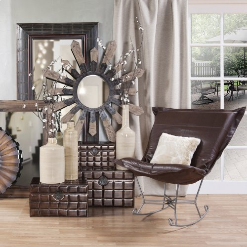 Scroll Puff Rocker Avanti Pecan Titanium Frame