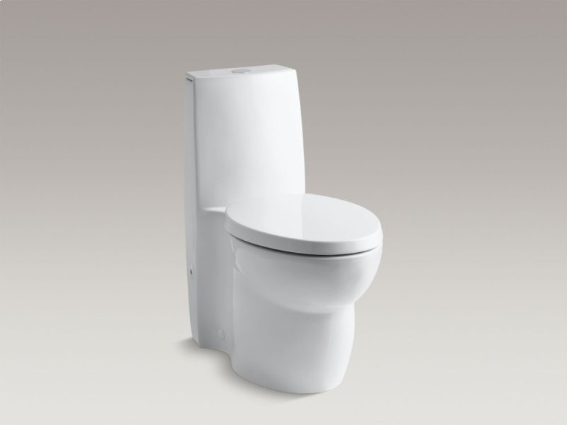 White Skirted One Piece Elongated Dual Flush Toilet With Top Actuator And Saile Quiet