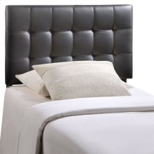 Lily Twin Tufted Faux Leather Headboard in Black