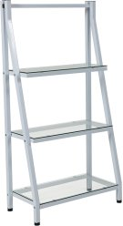 """Winfield Collection 3 Shelf 45.5""""H Glass Bookcase with White Metal Frame Product Image"""