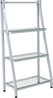 """Winfield Collection 3 Shelf 45.5""""H Glass Bookcase with White Metal Frame"""