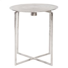 Raw Silver Spiral Top Accent Table