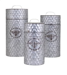 TY Honeybee Galvanized Container - Set of 3