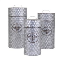 TY Honeybee Galvanized Container - Set of 3