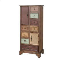 Engell 4-drawer 2-door Cabinet In Mahogany Stain With Multi-colored Hand-finished Fronts