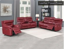 "Fortuna Recliner Sofa Wine Pwr/Pwr 84""x38""x41"""