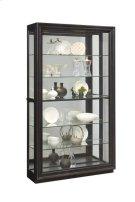 Framed Sliding Door 5 Shelf Curio Cabinet in Dark Brown Product Image