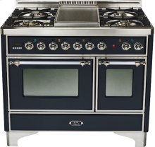 Gloss Black with Chrome trim - Majestic 40-inch Range with French Cooktop