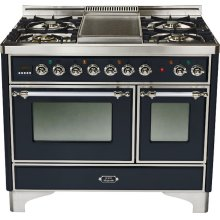 Gloss Black with Chrome trim - Majestic 40-inch Range with Griddle