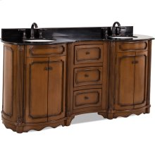"""74-1/4""""elliptical vanity with walnut finish and reed columns and simple carvings with preassembled top and bowl."""