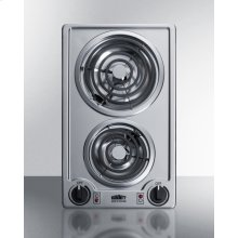 230v 2-burner Coil Cooktop In Stainless Steel; Made In the USA