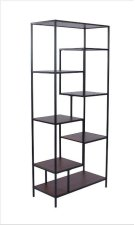 """- Seven shelf bookcase finished in walnut with metal frame finished in black- Constructed with steel, MDF, and engineered veneer- Also available in 48""""W (#801135) Product Image"""