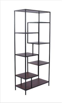 "- Seven shelf bookcase finished in walnut with metal frame finished in black- Constructed with steel, MDF, and engineered veneer- Also available in 48""W (#801135) Product Image"