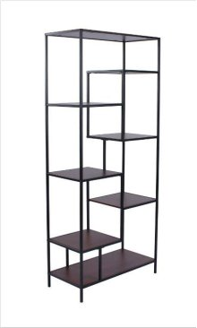 "- Seven shelf bookcase finished in walnut with metal frame finished in black- Constructed with steel, MDF, and engineered veneer- Also available in 48""W (#801135)"