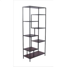 Industrial Walnut and Black Bookcase