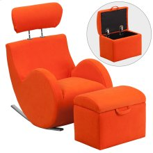 Orange Fabric Rocking Chair with Storage Ottoman