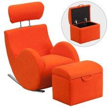 Orange Fabric Rocking Chair with Storage Ottoman
