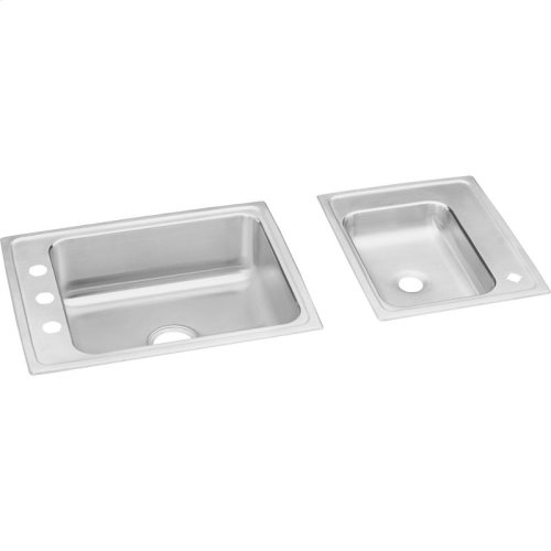 """Elkay Lustertone Classic Stainless Steel 41"""" x 19-1/2"""" x 7-5/8"""", Double Bowl Drop-in Classroom Sink"""