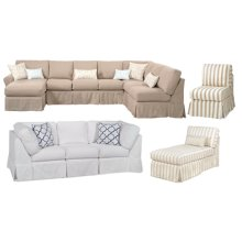 Tribeca Collection is Standard with No Welt 1-21 Throw Pillow comes with 1 Arm Piece and Corner Wedge Our Tribeca Collection is completely modular. all pieces are finished all the way around. Each piece can be grouped to make a sectional of any size or they can stand alone. This is an example of only a few configurations. The possibilities are endless with Four Seasons Furniture.