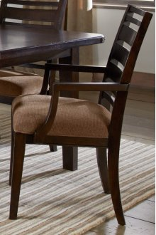 Set Up Wood Back Arm Chair With Upholstered Seat