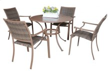 Island Cove Woven 5 PC Slatted Dining Group