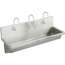 """Elkay Stainless Steel 60"""" x 20"""" x 8"""", Wall Hung Multiple Station Hand Wash Sink Kit"""