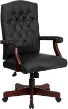 Martha Washington Black Leather Executive Swivel Chair with Arms Product Image