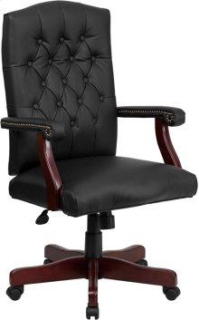 Martha Washington Black Leather Executive Swivel Chair with Arms