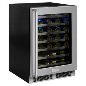 Marvel24-In Professional Built-In High Efficiency Single Zone Wine Refrigerator with Door Style - Stainless Steel Frame Glass, Door Swing - Right