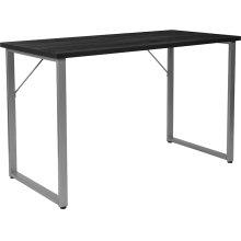 Harvey Black Finish Computer Desk with Silver Metal Frame