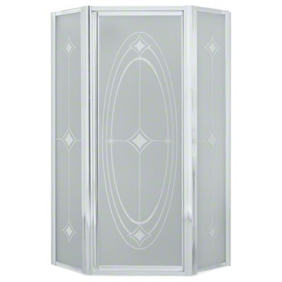 Intrigue™ Neo-angle Shower Door - Silver with Ellipse Glass Pattern