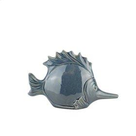 """Ceramic Fish DECOR,10.75"""",NAVY"""