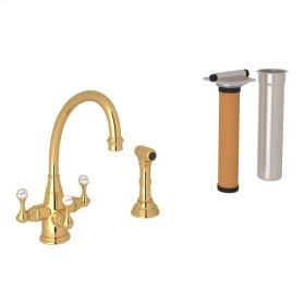 English Gold Perrin & Rowe Georgian Era 3-Lever Kitchen Faucet With Sidespray with Etruscan Metal Lever