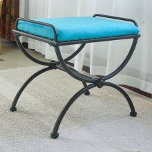 Microsuede Upholstered Iron Iron and Microsuede Vanity Stool - Aqua Blue