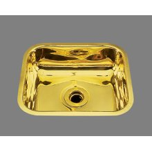 B0100 - Small Rectangular Bar Sink - Plain Pattern - Antique Brass