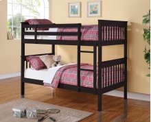 Twin / Twin Wood Bunkbed (Black)