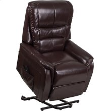 Brown Leather Remote Powered Lift Recliner
