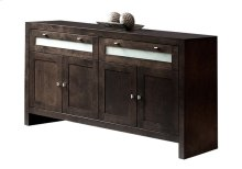 Buffet / 2 Drawers With Frosted Glass / 4 Doors With 2 Adjustable Wood Shelves