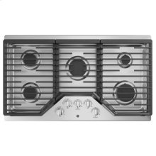 """GE 36"""" Built-In Gas Deep Recessed Edge-to-Edge Stainless Steel Cooktop"""