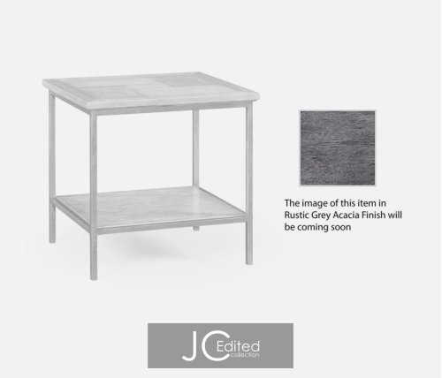 Antique Dark Grey Square End Table with Iron Base