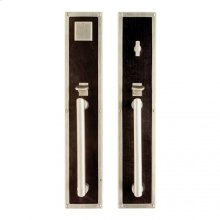 "Designer Entry Set - 3 1/2"" x 18"" White Bronze Light with Brown Weave Leather"