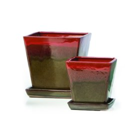 Franc Petits Pots w/ attached saucer, Red/Brown - Set of 2 (Min 4 sets)