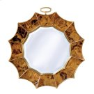 Tiger Penshell Inlaid Mirror in Sunburst Motif, Beveled Glass, Brass Accents Product Image