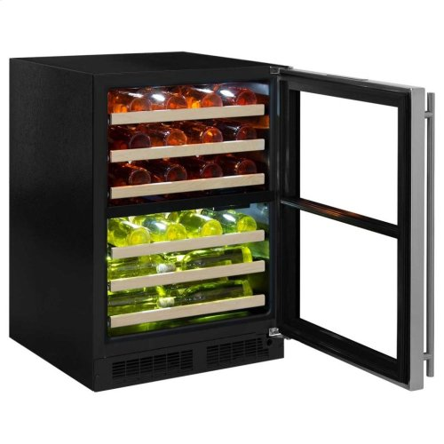 """Marvel 24"""" High Efficiency Dual Zone Wine Refrigerator - Stainless Frame, Glass Door - Right Hinge, Stainless Designer Handle"""