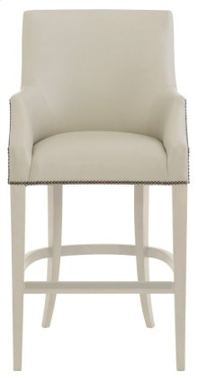 Keeley Leather Bar Stool in Chalk