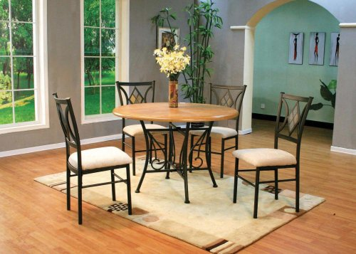 "45"" Round Wood Top Metal Base & 4 Chairs"
