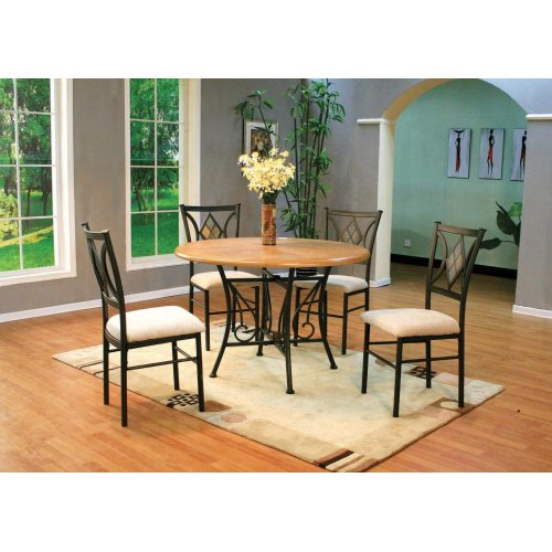 """45"""" Round Wood Top Metal Base & 4 Chairs"""