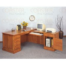 DESK/COMPUTER EXECUTIVE& RETURN+KEYBD WOOD OAK/F