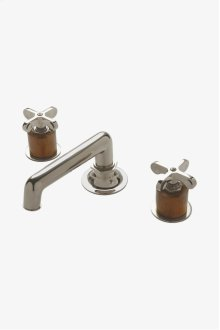 Henry Low Profile Three Hole Deck Mounted Lavatory Faucet with Teak Cylinders and Metal Cross Handles STYLE: HNLS02